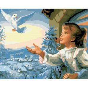 Девочка и голубь Раскраска по номерам на холсте