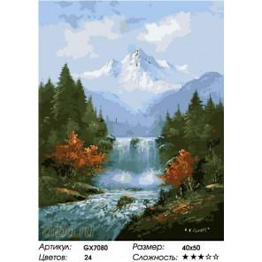 Количество цветов и сложность Величие водопада Раскраска картина по номерам на холсте GX7080