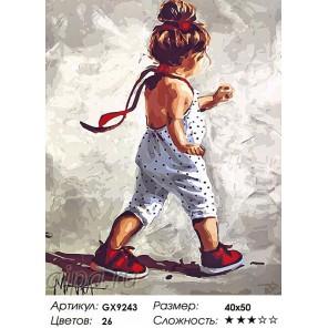 Сложность и количество цветов  Девочка в комбинезоне Раскраска по номерам на холсте GX9243