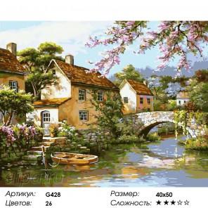 Сложность и количество цветов Деревенька у канала Раскраска по номерам на холсте G428