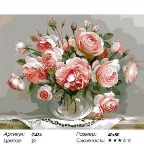 Сложность и количество цветов  Розы на столе Раскраска по номерам на холсте G436
