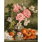 Розы и абрикосы Раскраска картина по номерам на холсте