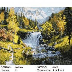 Количество цветов и сложность Чарующий водопад Раскраска картина по номерам на холсте GX7363