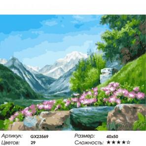 Количество цветов и сложность Цветы в горах Раскраска картина по номерам на холсте GX23569