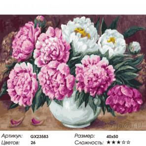 Свежесть пионов Раскраска картина по номерам на холсте