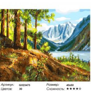 Количество цветов и сложность Озеро в предгорье Раскраска картина по номерам на холсте GX23473