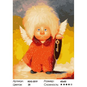 Количество цветов и сложность Белокурый ангелочек Раскраска картина по номерам на холсте RDG-3019