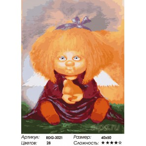 Количество цветов и сложность Ангелочек с грушей Раскраска картина по номерам на холсте RDG-3021