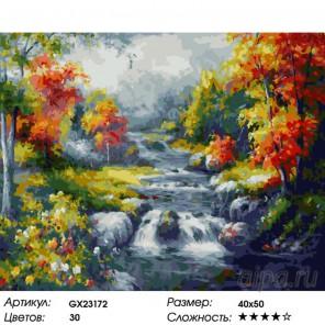 Количество цветов и сложность Осенний поток Раскраска картина по номерам на холсте GX23172