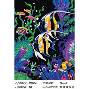Сложность и количество цветов Цветные рыбки Раскраска по номерам на холсте CE004