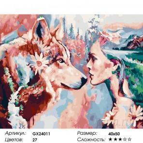 Девушка с волком Раскраска картина по номерам на холсте