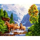 Вольные кони Раскраска картина по номерам на холсте GX23993