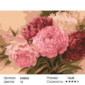 Количество цветов и сложность Оттенки розового Раскраска мини по номерам KH0033