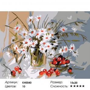 Количество цветов и сложность Букет ромашек Раскраска мини по номерам KH0040