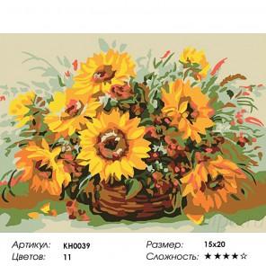 Количество цветов и сложность Солнечный букет Раскраска мини по номерам KH0039