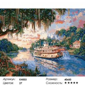 Количество цветов и сложность Речная прогулка Раскраска картина по номерам на холсте KH0003