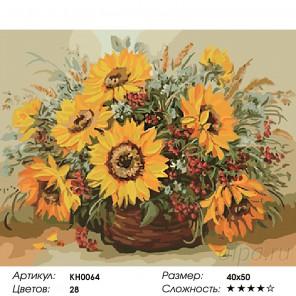 Количество цветов и сложность Солнечный букет Раскраска картина по номерам на холсте KH0064