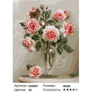 Количество цветов и сложность Розы в вазе Раскраска картина по номерам на холсте KH0087