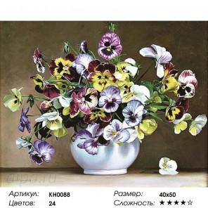 Количество цветов и сложность Анютины глазки Раскраска картина по номерам на холсте KH0088