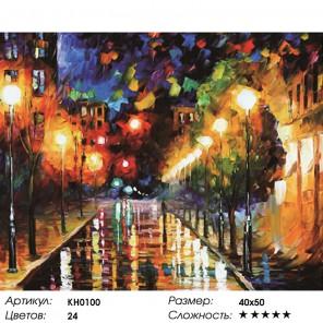 Количество цветов и сложность Ночной бульвар Раскраска картина по номерам на холсте KH0100