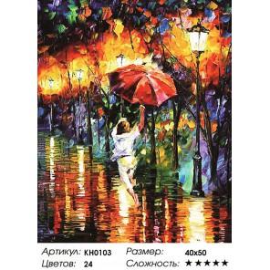 Количество цветов и сложность Танцющая под дождем Раскраска картина по номерам на холсте KH0103