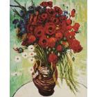 Цветущие маки и ромашки Раскраска картина по номерам на холсте KH0105