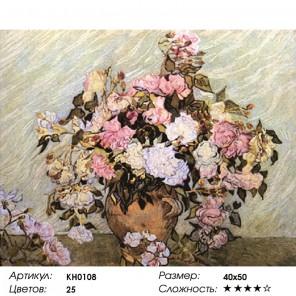 Количество цветов и сложность Ваза с розами Раскраска картина по номерам на холсте KH0108