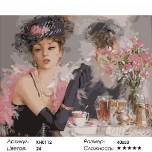 Количество цветов и сложность За чашкой чая Раскраска картина по номерам на холсте KH0112