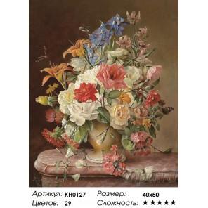Количество цветов и сложность Июльские цветы Раскраска картина по номерам на холсте KH0127