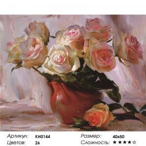 Количество цветов и сложность Чайные розы Раскраска картина по номерам на холсте KH0144