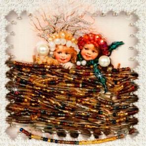 Снежки Набор для вышивания хрустальными бусинами, магнит СТУДИЯ ВЫШИВКИ