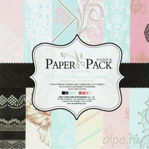 Свадебные кружева Набор бумаги 15х15 см для скрапбукинга, кардмейкинга Белоснежка