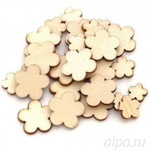 Цветок Деревянные чипборды Белоснежка 844-DB