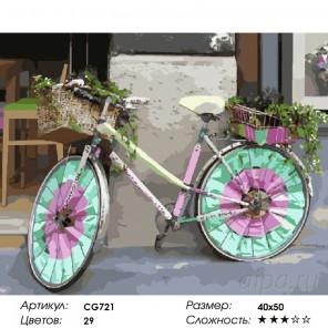 Цветной велосипед   Раскраска картина по номерам на холсте