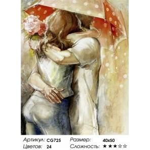 Поцелуи под зонтом Раскраска картина по номерам на холсте