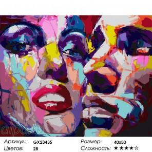 Разноцветные лица Раскраска по номерам на холсте
