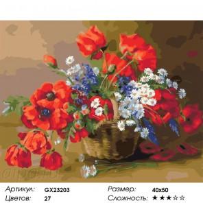 Корзинка полевых цветов Раскраска по номерам на холсте