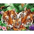 Тигриные нежности Раскраска картина по номерам на холсте GX24183