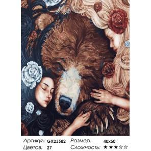 Количество цветов и сложность Девочки и медведь Раскраска картина по номерам на холсте GX23582