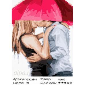Под алым зонтом Раскраска картина по номерам на холсте