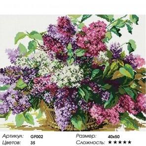 Количество цветов и сложность Сирень в корзине Алмазная мозаика вышивка Painting Diamond GF002