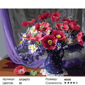 Количество цветов и сложность Пурпурный натюрморт Раскраска картина по номерам на холсте GX24273