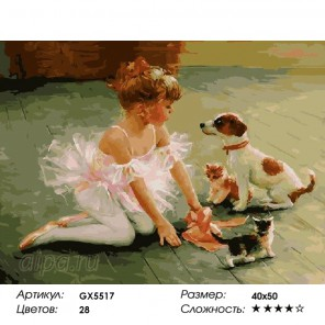 Юная балерина Раскраска картина по номерам на холсте