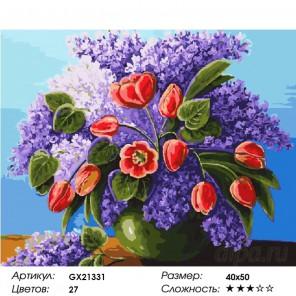 Количество цветов и сложность Букет сирени и тюльпанов Раскраска картина по номерам на холсте GX21331