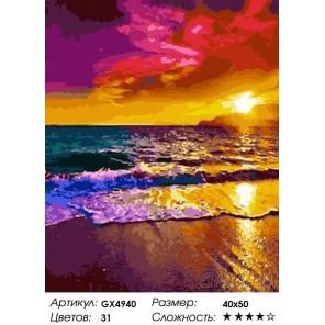 Закат на пляже Раскраска картина по номерам на холсте