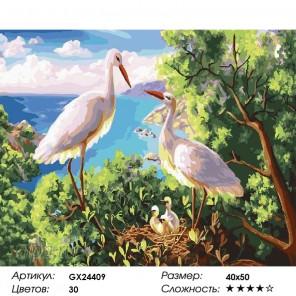 Белые аисты Раскраска картина по номерам на холсте