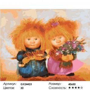 Солнечные ангелы и самое важное Раскраска картина по номерам на холсте