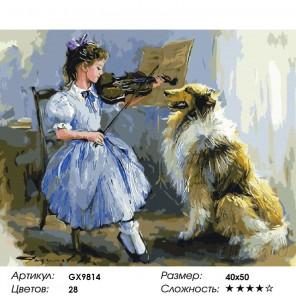 Скрипачка Раскраска картина по номерам на холсте