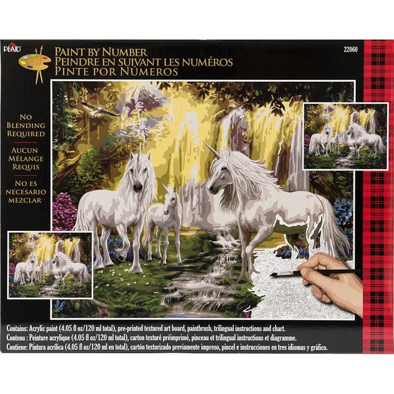 PLD-22060 Единороги у водопада Раскраска картина по ...