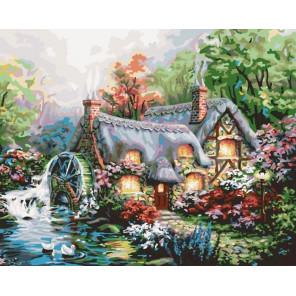 Домик с мельницей Раскраска картина по номерам Plaid